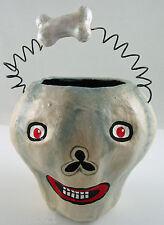 Dept 56 Halloween Skull & Bone Paper Mache Candy Container Excellent