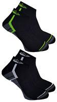2 Pairs Mens Prohike Cushioned Trainer Sports Socks, Black White Green, 6-11