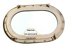 """Large 14"""" Brass Porthole Marine Boat Ship Oval Porthole Ship Window Wall Mirror"""