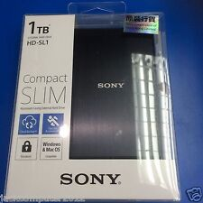 New Sony HD-SL1 Slim External Portable Hard Drive 1TB 1 TB for Mac Windows Black