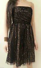 STRAPLESS NEW BLACK PARTY DRESS SIZE 8 - GOLD SEQUIN PROM - LA REDOUTE