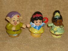 Fisher Price Little People Disney Princess Lot: Tiana, Snow White, Dwarf