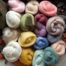 Wool Corriedale Needlefelting Top Roving Dyed Spinning Wet Felting Fiber 17Pcs