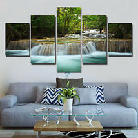 Abstract Forest Stream Picture Canvas Paint Mural Wall Decor Painting 5PC HOT