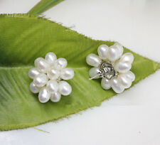 Fashion Genuine White Freshwater Rice Pearl Flower 18KWGP Stud Earrings