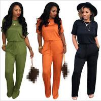 Summer Women Short Sleeve Pocket Rompers Belt Slim Loose Solid Casual Jumpsuit