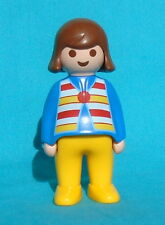 Playmobil 1.2.3 Woman k6977, blue, yellow, striped vest, brown hair 1-2-3 Mother