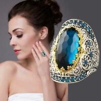 Frauen Jahrgang Carving Blauer Saphir Zirkon Schmuck Ring Klassik R0N3