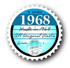 Retro 1968 Tax Disc Disk Replacement Vintage Novelty Licence Car sticker decal