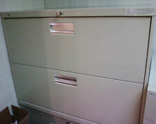 Hon Two Drawer Lateral Filing Cabinet Beige Solid Metal Old Style 36 X 19 X 28