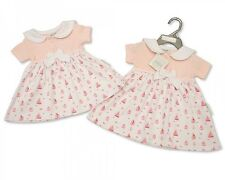 Baby Girl's Nursery Time Summer Dress - Little Sailor Design in Pink and White Newborn