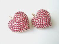 925 Silber vergoldete Herz Ohrringe rote Strass Steinchen 11,4 g/2,7 x 2,1 cm