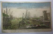 1750ca VUE  DU PORT DE CIVITA-VECCHIA veduta ottica porto Civitavecchia Maillet
