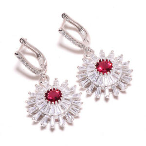 """Pink Rubellite Tourmaline & White Topaz 925 Sterling Silver Earring 1.56"""" T2791"""
