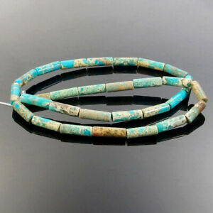 "Natural Sea Sediment Jasper Gemstone Tube Cylinder Spacer Beads Strand 15"""