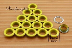 eyelets metal with washer grommets yellow round 60 sets 10 mm CK35