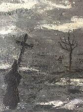 Homme à la croix prêtre moine ténèbres symbolisme peinture sur bois anonyme