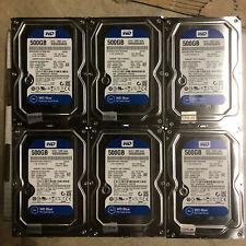 Western Digital Blue 500gb WD500AAKX SATA hard drive - lot of 6