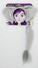 Gray Elephant Kit Plush Cloth Tail Ears Headband Hat Mask Set Adult Kid Funny