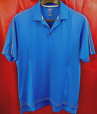 ADIDAS CLIMA LITE Polyester SS Polo Shirt Blue White Chest 44 Lth 29   L