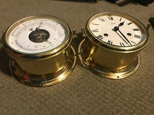 Schatz Ships bell Clock And Barometer Set  - antique winding ships bell clock..
