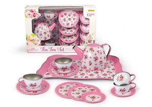 PINK ROSE TIN TEA SET 15PCS
