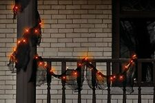 "Impact Innovations Garland Lighted Gauze Black 108"" 35 Orange Lights Halloween"