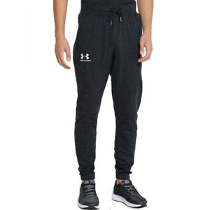 Under Armour Speckled Fleece Joggers UA Mens Black Spring Tracksuit Bottoms