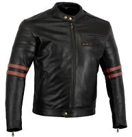 BUSA Bikers Gear CafeRacer Oxblood Rocker Leather CE Armour Motorcycle Jacket
