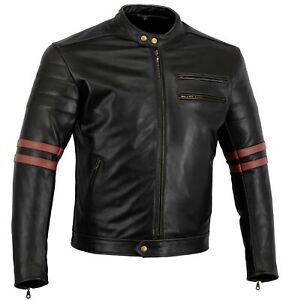 BUSA Cafe Racer Retro Oxblood Rocker Leather Armour Motorcycle Old School Jacket