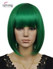 Fashion Girls Party Cosplay Wigs Straight Green Bob Full Synthetic Wigs Bangs