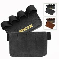 RDX Leather Weight Lifting Grip Pads Training Fitness Gym Straps Hand Gloves