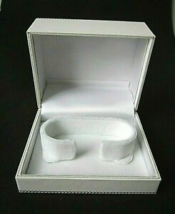 White Leatherette BANGLE Jewellery Gift Box-Top Quality-Wedding-Velvet Pad-RP103