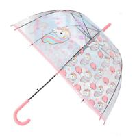 fashion weatherproof colorful unicorn children long handle transparent umbrella