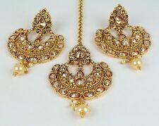 New Earring Tikka Set Kundan Polki Wedding Indian Fashion Jewelry Women