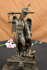 LARGE Hot Cast Solid Bronze  Archangel ST Michael Statue YARD Church Sanctury