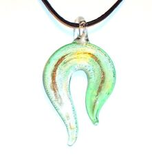 "MN349e Green Silver Foil & Gold Sparkle 64mm Lampwork Glass Pendant 18"" Necklace"