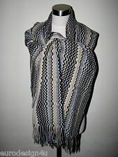 """AUTH MISSONI XL KNIT WOOL BLEND 21""""X71"""" TRIMS SCARF ORANGE LBL made in Italy"""