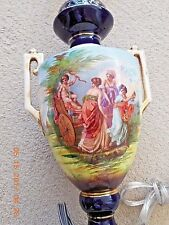 Sevres Cobalt  unmarked antique lamp hand painted ornate on both side
