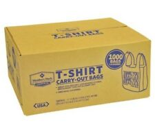 NEW 1000 T-Shirt Carry Out Plastic Bags Recyclable Retail Grocery Shopping WHITE