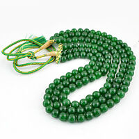 872.00 CTS EARTH MINED ROUND SHAPE 3 STRAND RICH GREEN EMERALD BEADS NECKLACE