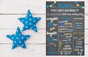 Baby First Birthday Board Milestones Blackboard Photo Prop Chalkboard Boys