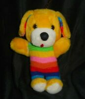 "9"" VINTAGE SUPERIOR TOY & NOVELTY YELLOW RAINBOW PUPPY DOG STUFFED ANIMAL PLUSH"