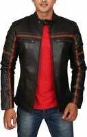 New Men's Genuine Lambskin Leather Jacket Black Slim fit Motorcycle Biker Jacket