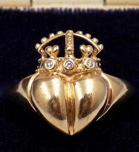 VINTAGE & RARE ~ KIESELSTEIN CORD ~ 14K GOLD & DIAMOND ~ CROWN HEART ~ RING