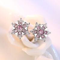 Real 925 Sterling Silver Fine Crystal Earrings Women Lady Fashion Stud Jewelry