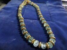 Vintage world famous Talia Blue Art Deco Glass & gold tone long necklace