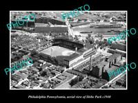 OLD LARGE HISTORIC PHOTO OF PHILADELPHIA PA AERIAL VIEW OF SHIBE PARK c1940