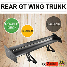 "52"" Adjustable Aluminum GT Double Deck Racing Rear Trnnk Spoiler Wing Black"