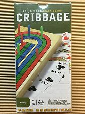 Cribbage Solid Wood 3 Track Board ages 8+ Family Game 2-3 Players Cards Pegs New